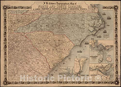 Historic Pictoric Map, 1861 J.H. Colton's topographical map of North and South Carolina : a large portion of Georgia & part of adjoining states, Vintage Wall Art : 33in x 24in