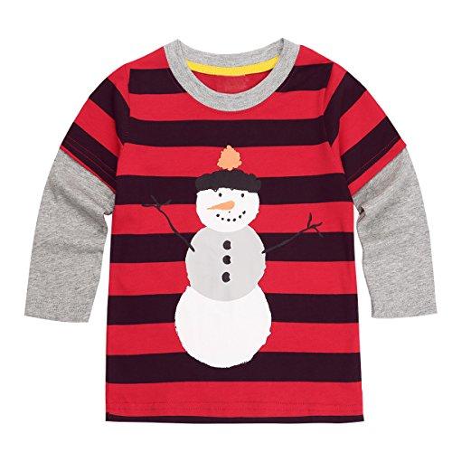 YiZYiF Little Boys' Girls' Holiday Christmas Long Sleeve Cute Snowman Applique T-Shirt Top Red&Black (New Girls Christmas Holiday Snowman)