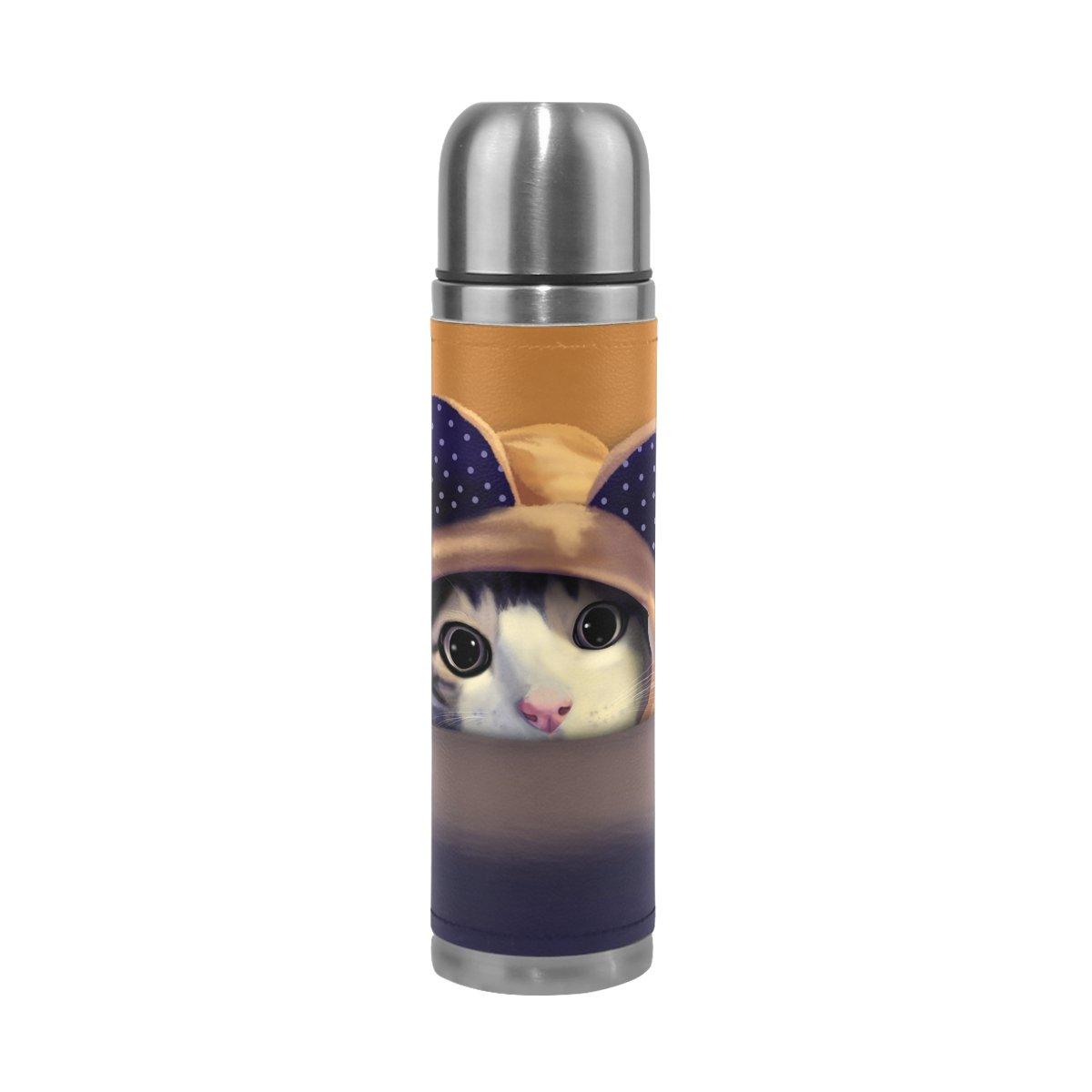 ファッションなデザイン Alazaピンクパンダステンレススチール漏れ防止二重壁真空断熱魔法瓶フラスコ17 oz本革カバーWrapped kitten kitten cat cat B076JBPV7K, 【即納!最大半額!】:a69601f4 --- a0267596.xsph.ru
