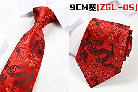 GENTLEE TIE La antigua China El dragón rojo bordado eólica ...