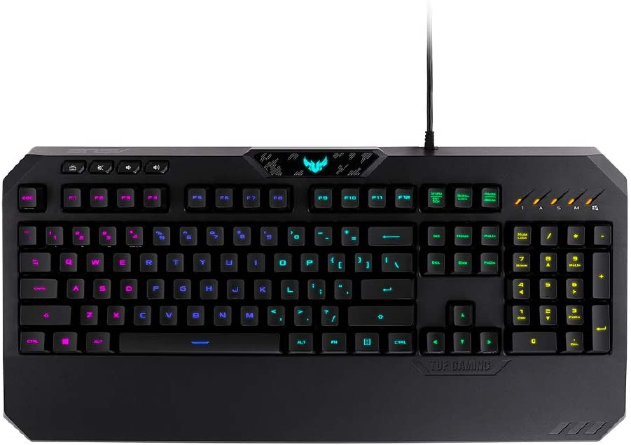ASUS Mechanical Membrane RGB PC Gaming Keyboard - TUF K5 | Programmable Onboard Memory | Dedicated Media Controls, Aura Sync RGB Lighting | Spill, Sweat & Abrasion Resistant - Highly Durable | Black