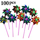 Funpa 100PCS Outdoor Garden Pinwheel Colorful Decor Windmill Party Wind Spinner for Kid Toy (Random Color)