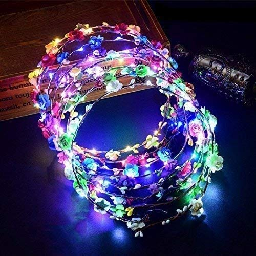 Gwill 8Pcs LED Glow Flashing Tiara Rattan Flashing with 10 LEDs and 10 Flowers Colorful Headbands Flowers Hairband Hawaii Headwear Bridal Head Wreaths for Girls Women Party Decor ()