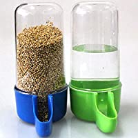 Sage Square Tube Shape Cage Food, Seed, Water Feeder Dispenser Cum Bowl with Removable Tray (Random Colour) - Pack of 2