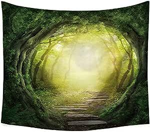 غابة خضراء طباعة جدار الفن شنقا نسيج منشفة شاطئ غطاء طاولة لغرفة النوم غرفة المعيشة السرير deoration