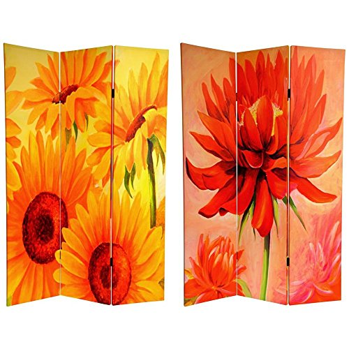 Oriental Furniture 6 ft. Tall Double Sided Poppies and Sunflowers Canvas Room Divider Center Room Divider Shoji Screen