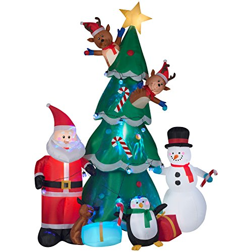 Gemmy Animated Christmas Tree with Santa, Reindeer and Snowman Indoor/Outdoor Holiday Display (Christmas Animated Scene)