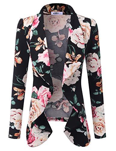 DOUBLJU Womens Lightweight Classic Draped Open Front Blazer with Plus Size BLACKIVORY Medium