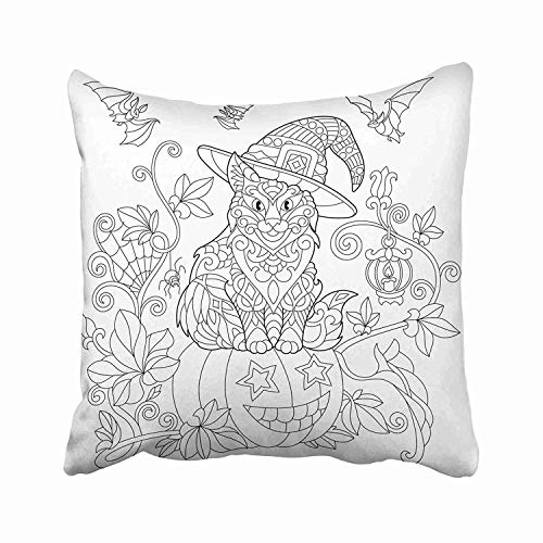 JTNF Coloring Page of Cat in Hat Sitting on Halloween Pumpkin Flying Bats Spider Lantern with Candle Freehand Throw Pillow Covers Decorative Cover Pillowcase Cases Case Two Side -