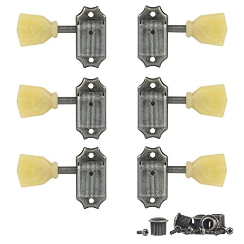 Golden Age Vintage Keystone-Style 3-Left + 3-Right Tuning Machines for Solid Peghead, Relic Nickel