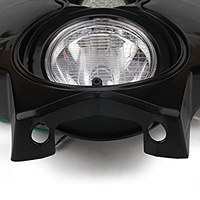 JFG RACING S2 12V 35W Universal Motorcycle Headlight Dual Lights Head Lamp Led Lights For Dirt Pit Bike ATV - Black: Automotive