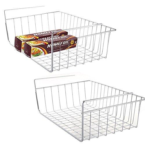 Pantry Organizer Baskets (2 pcs Under Cabinet Storage Shelf Wire Basket Organizer Fit Dual Hooks for Kitchen Pantry Desk Bookshelf Cupboard - Premium Anti Rust Stainless Steel Rack - Silver)