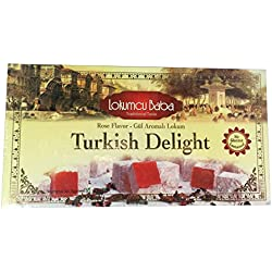 Turkish Delight with Rose Flavor, Sweet Confectionery Gourmet Gift Box Candy Dessert 17.62 oz, Halal Turkish Delight