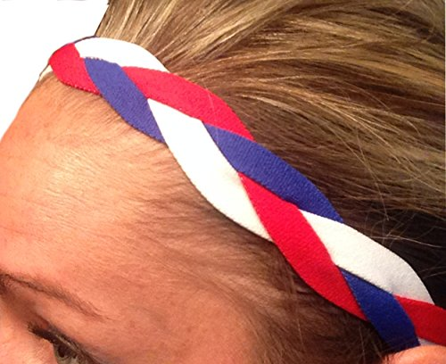 IT'S RIDIC! No Slip Grip/Non-Slip Sports/Athletic Nylon Triple Braided Sports Headband (Red | White | Blue)