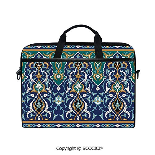 Printed Laptop Bags Notebook Bag Covers Cases Ethnic Oriental Figure Petals Hippie Vintage Tribal Mosaic Design with Adjustable Strip and Zipper Closure