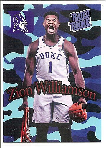 (Zion Williamson Duke Blue Devils 2018-19 Camo Crushed Ball Rated Rookie Basketball Card #1)