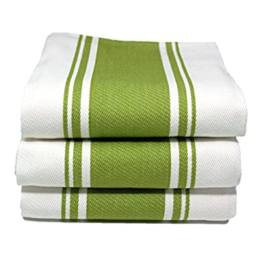 Cucinare 20-Inch-by-28-Inch Cotton Vintage Striped Dish Towel, Set of 3, Green