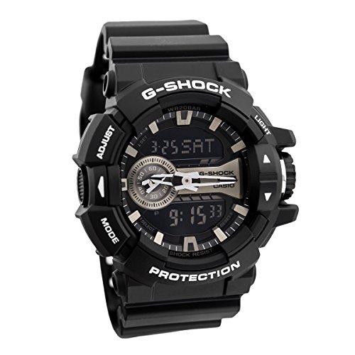Casio G-Shock Black and Silver-Tone Dial Resin Quartz Men's Watch GA400GB-1A -