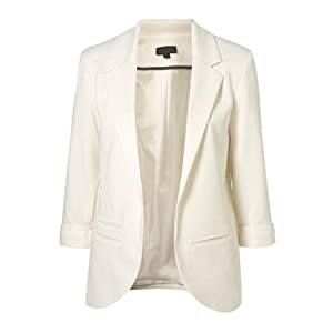 VOBAGA Womens Roll Up 3/4 Sleeve Open Front Slim Fit Casual Blazer Jacket Suit White