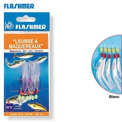 BAS DE LIGNE FLASHMER LEURRE A MAQUEREAUX avec PERLES 5 HAMECONS N2
