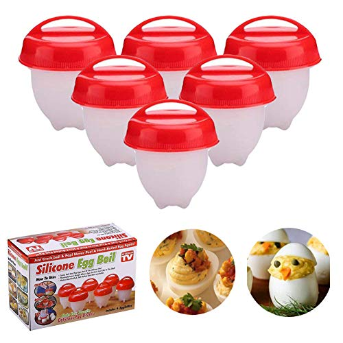 CHOKOO Egg Poacher,No-stick Silicone Egg Cooker Boiler Cups without Egg Shell,As Seen On TV Hard Boiled Eggs(6 PACK,RED)