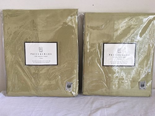 Pottery Barn silk drape 50 x 96 inches tie top set of two (2) individual Pear color drapes (Pottery Barn Drapes)