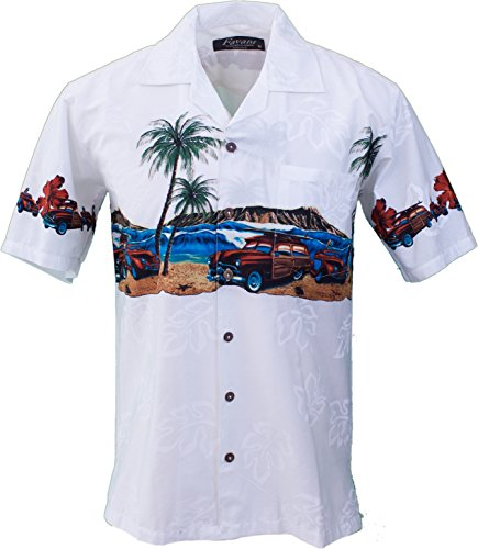 Cars Print - Favant •Men's Hawaiian Aloha Tropical Luau Beach Novelty Car Print Shirt (Medium, White)