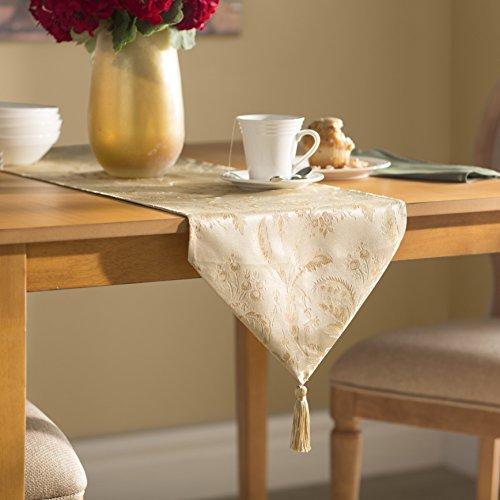 (Violet Linen Decorative Luxury Damask Vintage Design Table Runner, 13