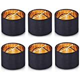 """Chende Set of 6 Small Chandelier Lamp Shades, Natural Linen Drum Shades for Dining Room, Clip on Chandelier Table Lamp with Vintage Rustic Style, 5.5""""x5.5""""x4"""" (Black)"""