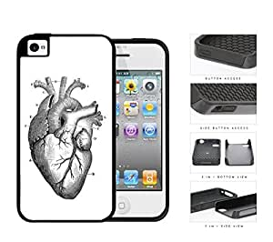 Anatomy Of Heart Diagram 2-Piece Dual Layer High Impact Rubber Silicone Cell Phone Case Apple iPhone 4 4s
