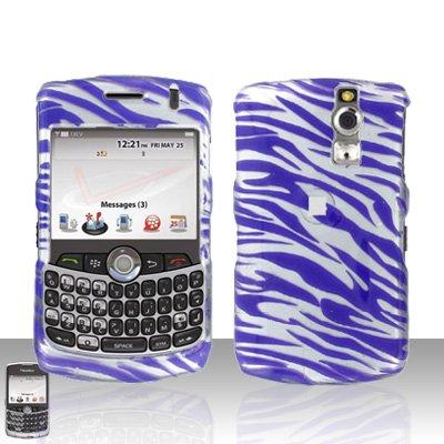 (Silver Purple Zebra Design Snap on Hard Cover Protector Faceplate Skin Case for Blackberry Curve 8300 8310 8320 8330 + Belt Clip )