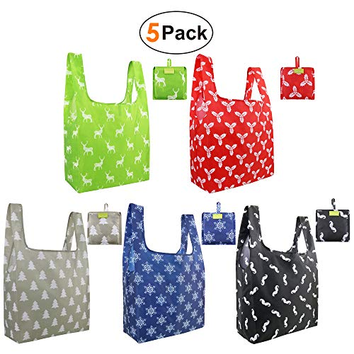 Christmas-Reusable-Grocery-Bags 5 Pack Foldable Reusable Shopping Bags Fit in Attached Pouch Cloth Recycle Reusable Gift Bags Tote Bags for Shopping Washable X-Large