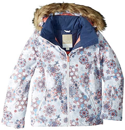 Roxy Little American Pie Girl Snow Jacket, Bright White_Snowflakes, 12/L ()