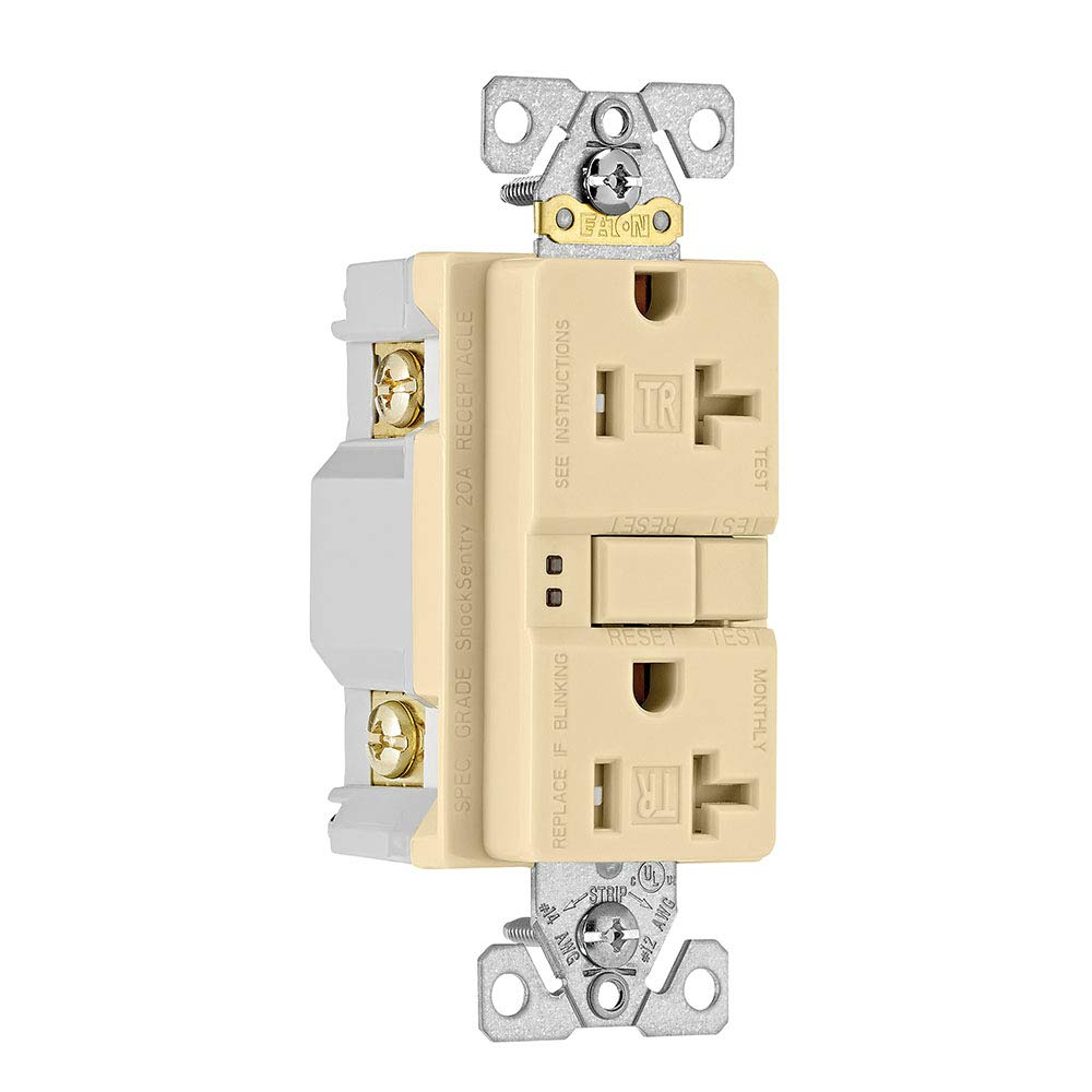 Ivory TRSGF20V EATON Wiring GFCI Self-Test 20A 125V Tamper Resistant Duplex Receptacle with Standard Size Wallplate