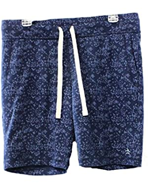 PENGUIN Mens Medium Printed Fleece Drawstring Shorts Blue M