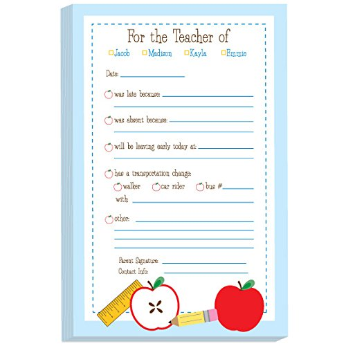 School Supplies Excuse Pad | Personalized School Notepads for Kids | Custom Printed School Pads | Excuse Pad | Stationery for School - Excuse Pad