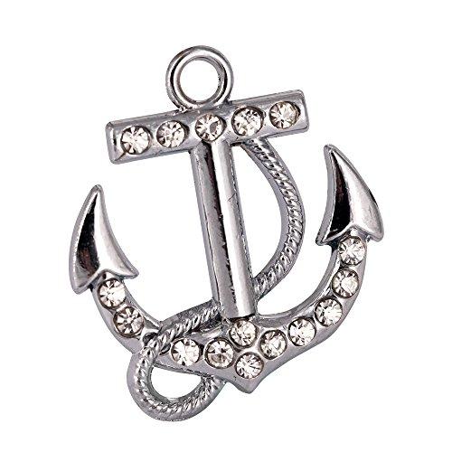 - M180-E Cute Clear Crystal Boat Anchor Charm Pendant Wholesale (10 pcs)