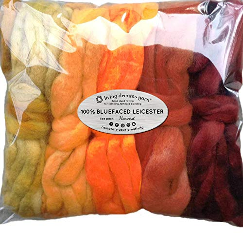 Spinning Fiber Super Soft BFL Wool Top Roving drafted for Hand Spinning with Drop Spindle or Wheel, Felting, Blending and Weaving. Variegated Hand Dyed Mini skeins. 5 Ounce Discount Pack, Harvest