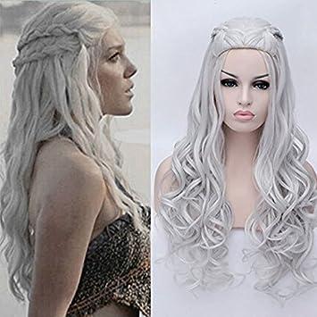 Juego de Tronos peluca de pelo sintético resistente al calor peluca largo rizado ondulado cosplay disfraz pelucas Daenerys Targaryen khalees Halloween pelo ...