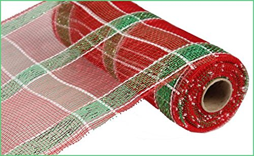 Deco Poly Mesh Wreath - 10 Inch x 10 Yards (30 feet) Deco Poly Mesh Ribbon - Red, White and Green Plaid : RE1313A7