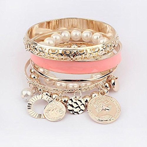 Creazy® 1 Sets Korean Fashion New Style Girls Exquisite Coin Pearl Hollow Bracelet Jewelry