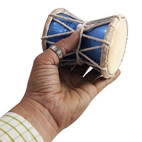 "India Meets India Handmade Kids 4"" Damroo Shiva Damru Musical Damaru Musical Instrument Best For Gifting Made By Awarded Indian Artisans (Blue-Mango Wood)"