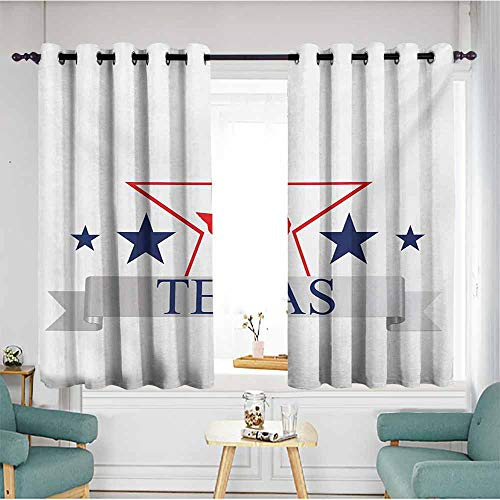 Extra Wide Patio Door Curtain,Texas Star San Antonio Dallas Houston Austin Map with Stars Pattern USA,Grommet Curtains for Bedroom,W55x45L,Navy Blue Vermilion Pale Grey