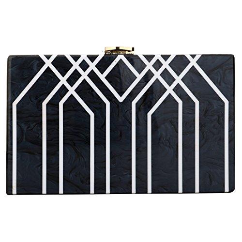 Evening Handbag Box Acrylic Clutch Stripes Shoulder Bag for Party (Black) by KNUS (Image #1)
