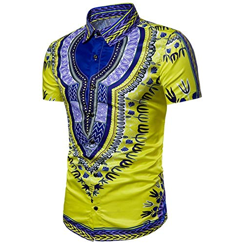 (Men Shirts Dashiki African Style Shirts Button Down Summer Floral Print Shirts Blouses Tops by Lowprofile Yellow)
