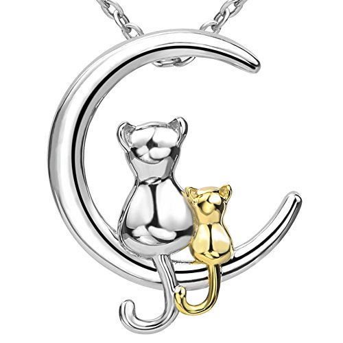 - 925 Sterling Silver Mom and Child Cute Cats Pendant Animal Necklace Jewelry Gift for Women