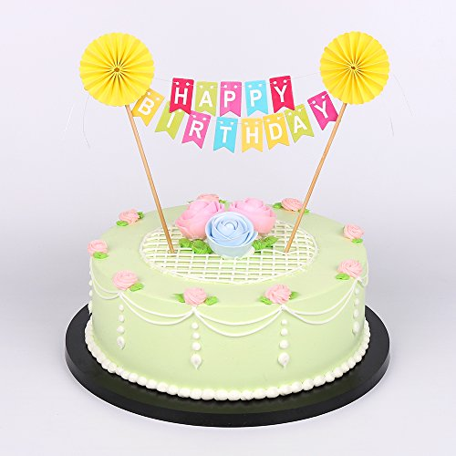 Amazon LXZS BH Yellow Sun Flower Happy Birthday Cake Topper Banner Rainbow Colorful Party Decoration Supplies Toys Games