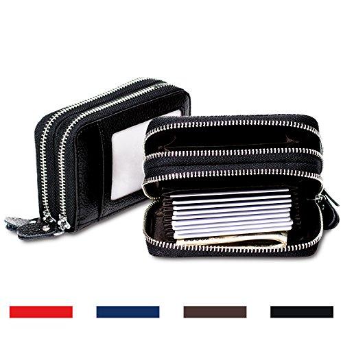 RFID Blocking Leather Wallet, Latest Credit Card Safe RFID Block Security Travel (Metal Lock Wallet)