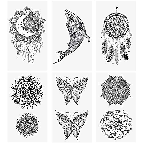 "glaryyears 20 Sheets Small Mandara Temporary Tattoos for Women Men, Moon Dreamcatcher Flower Fake Tattoo Stickers Waterproof on Hand Arm Wrist Body Art 2.4""x4.1"""