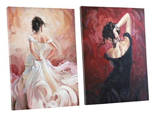 [Niwo ART - Black & White Skirt Dancer (2pcs/set) - Ballet Dancing Series. Modern Abstract Oil Painting Reproduction. Giclee Canvas Prints Wall Art for Home Decor, Stretched and Framed Ready to] (Mounted Animal Head Costume)